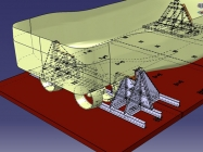 460ton Tug 3D model Aft view - Wireframe