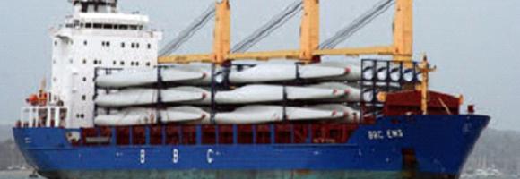Windmill Blades loaded on vessel