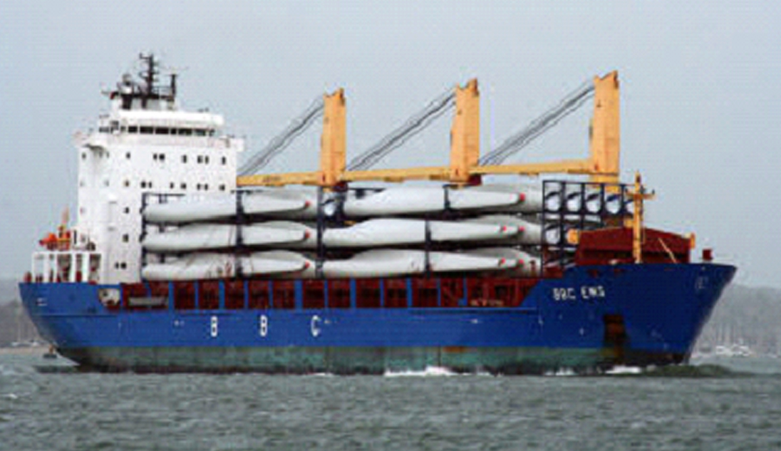 Windmill Blades loaded on vessel