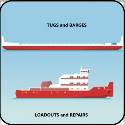 Tug and Barge design, modification, and loadout.