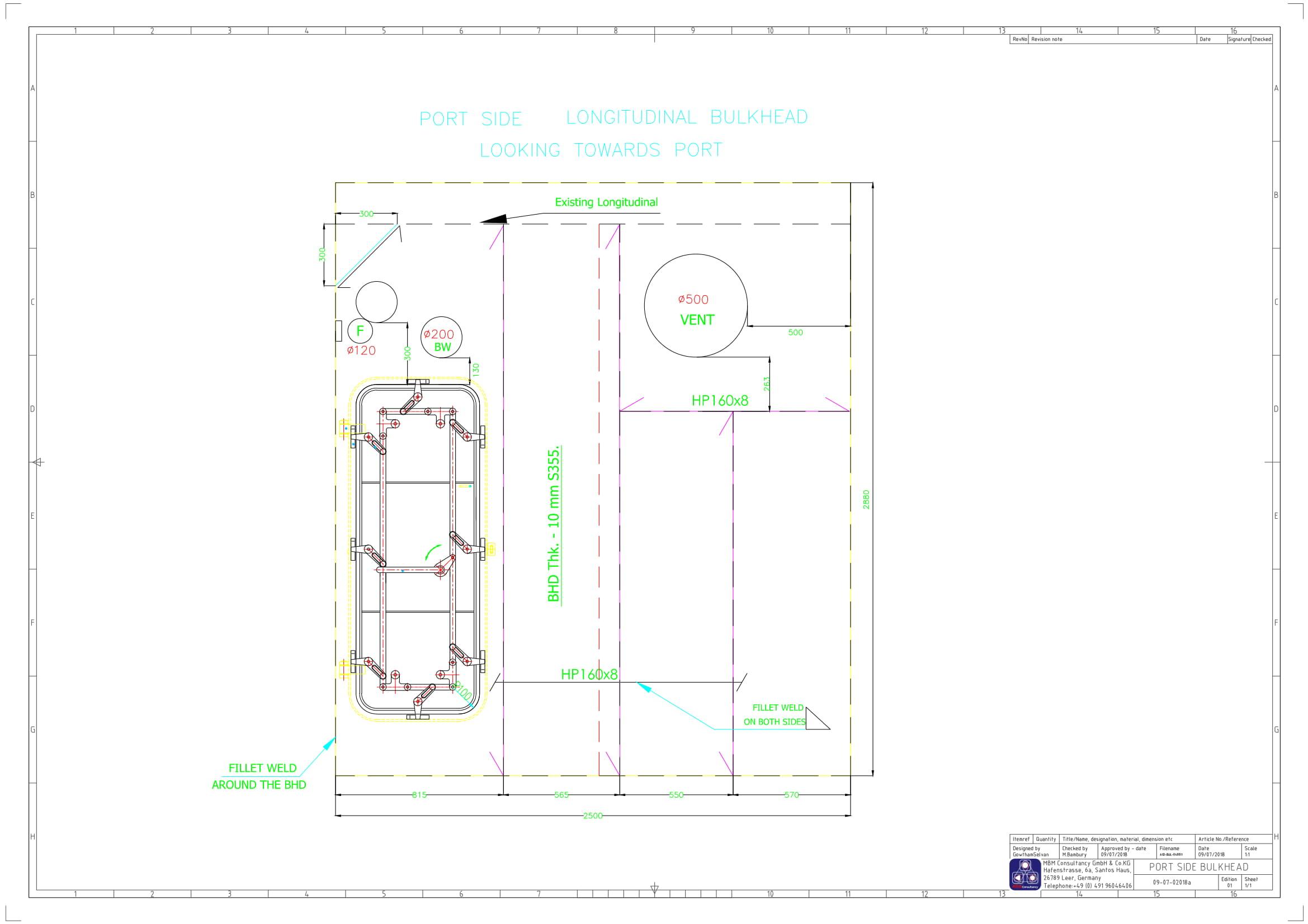 Bulkhead drawing-Model 1